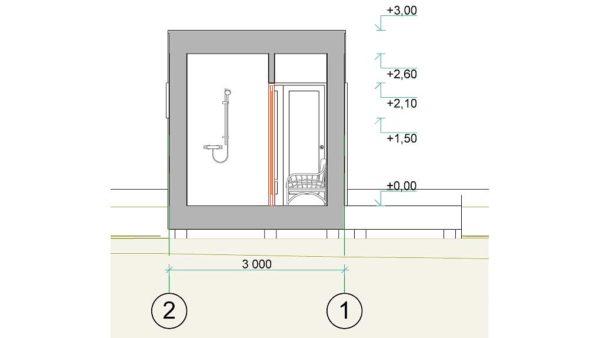 Baltic CUBE 3x6 sauna, summer house flat roof